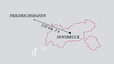 Entfernung Flughafen Innsbruck - Flughafen Friedrichshafen, © Tirol Werbung