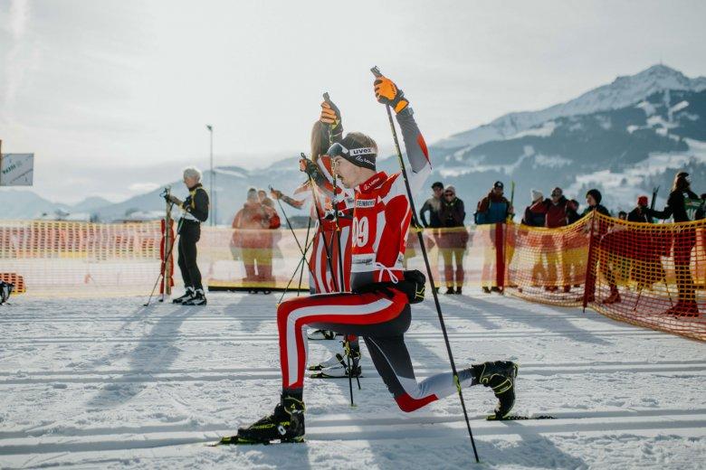 Meine letzten Dehnübungen im Telemark nur wenige Sekunden vor dem Start.
