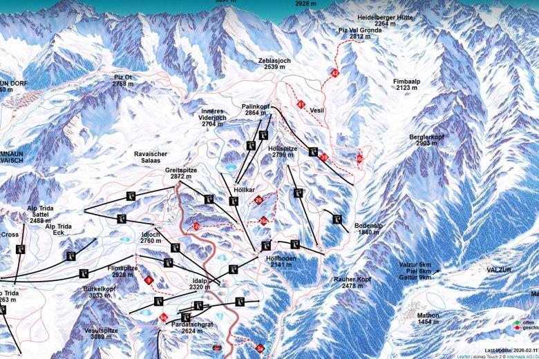 Die Skiroute 39 kann über den Sessellift Gampenbahn erreicht werden. , © Ischgl