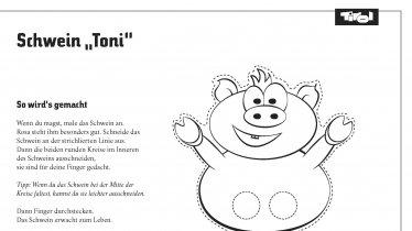 """Bastelvorlage Schwein """"Toni"""""""