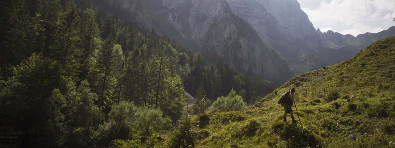 View looking into the Kaiserbachtal Valley, © Tirol Werbung/Monika Höfler