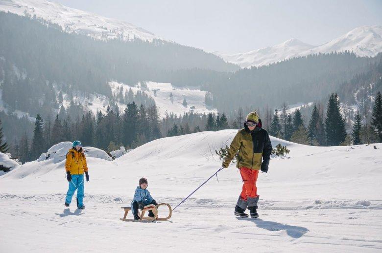 Rodeln im Skigebiet Hochpustertal.