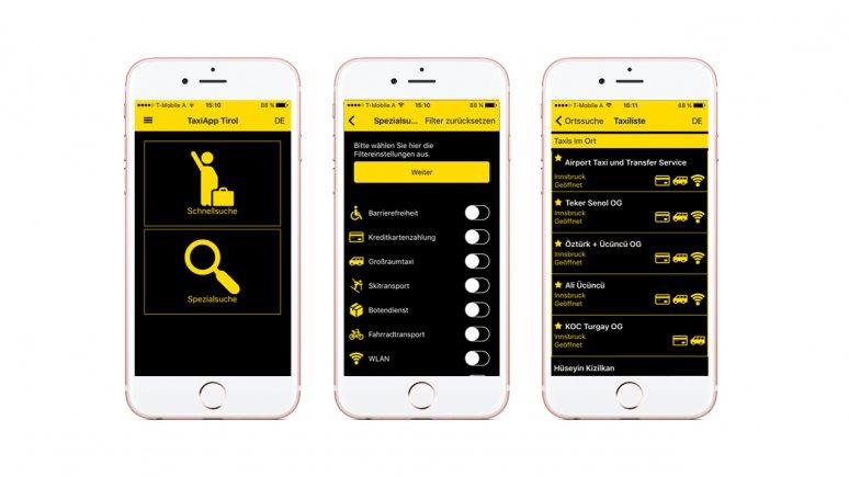 TaxiApp Tirol - Funktionen