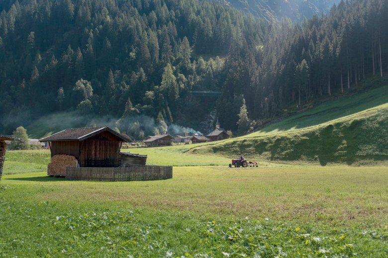 Wieder im Tal. Bäume. Häuser. Fahrzeuge – ein Schock, als wir im Gschnitztal ankommen.