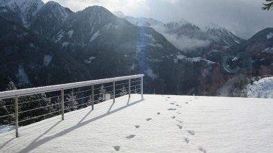 Wohnzimmerausblick Terrasse Winter