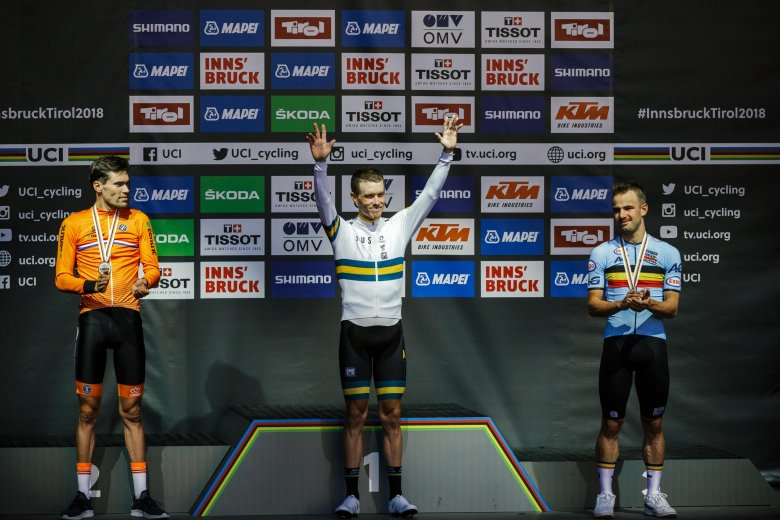 So sehen Weltmeister aus: Rohan Dennis gewinnt das Einzelzeitfahren vor Tom Dumoulin und Victor Campenaerts.
