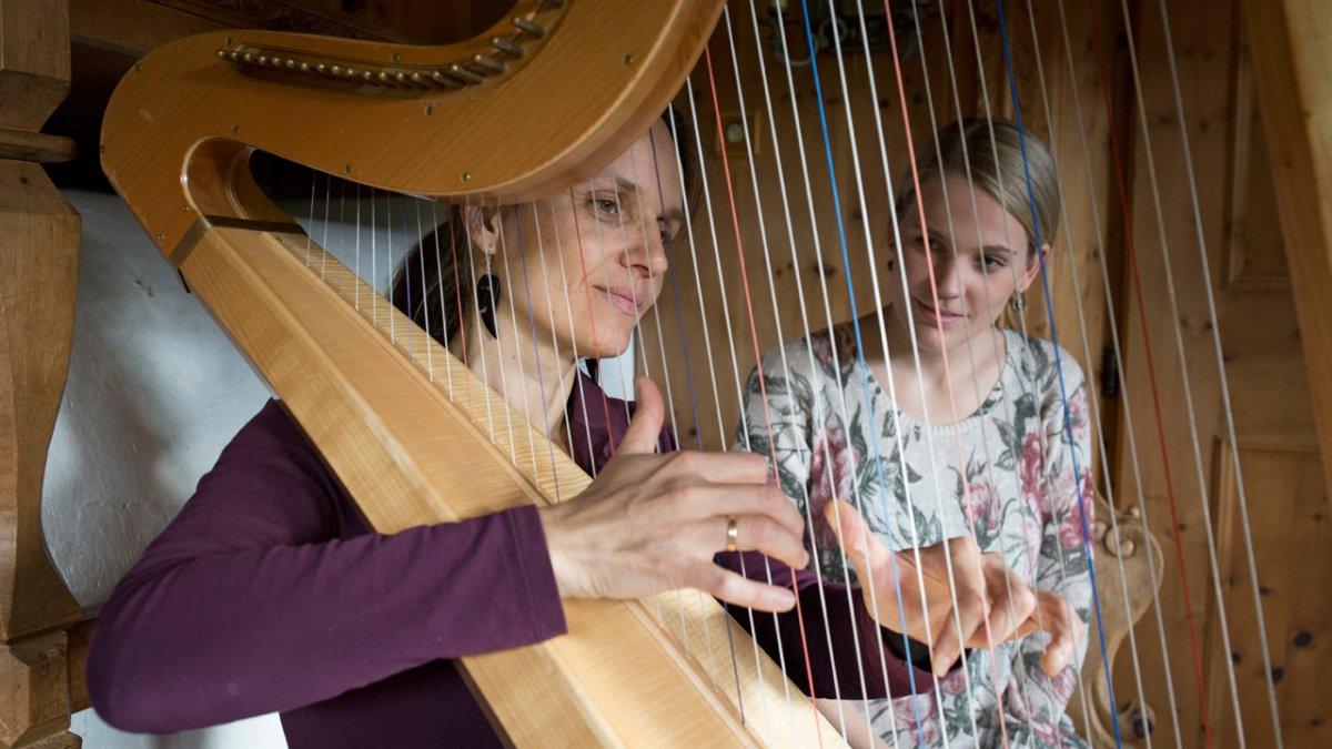 Am Pechhof gehört Harfenmusik zum Hofalltag., © Tirol Werbung/Lisa Hörterer