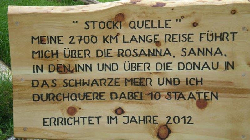 Schild bei der Quelle des Stockibaches, © TVB St. Anton am Arlberg