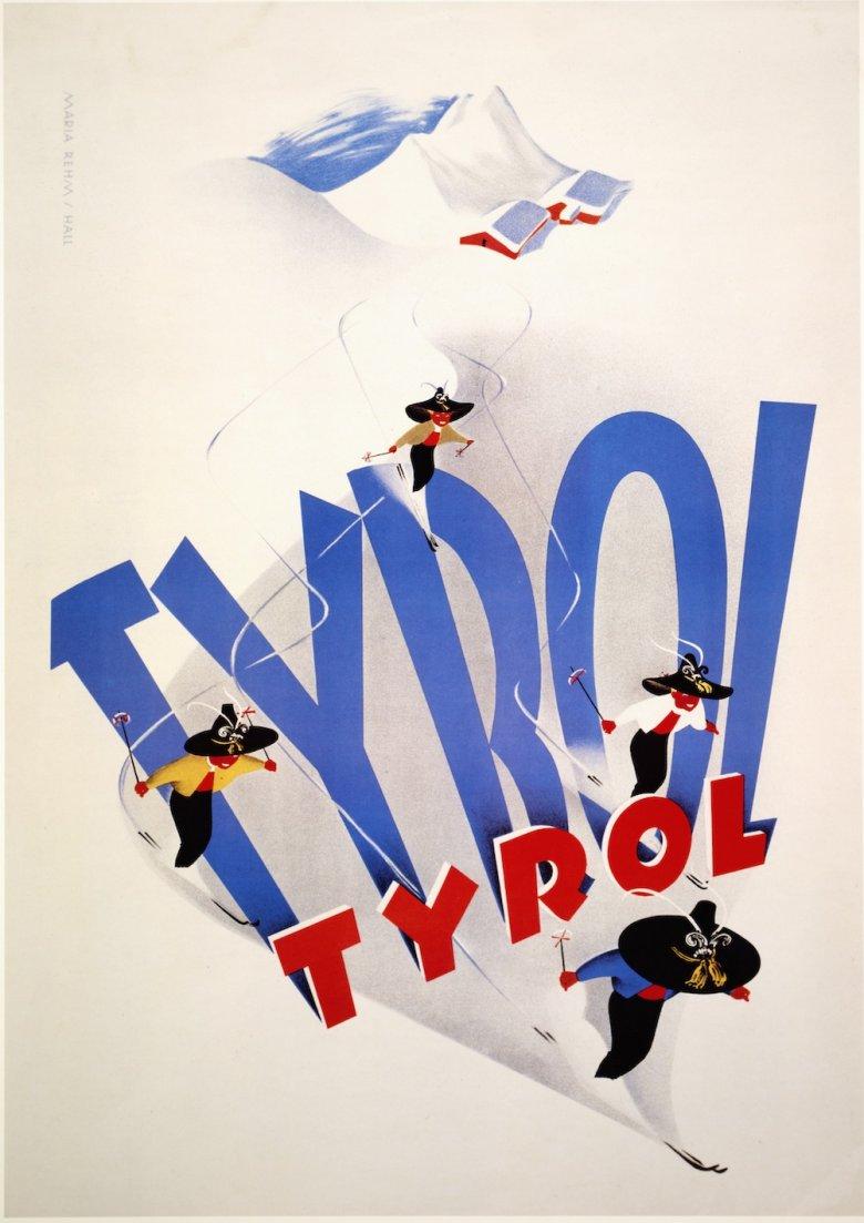 """Maria Rehm, """"Tyrol (Blauer Typoschatten mit Skifahrern)"""", um 1950, Plakat, 59,7 x 84,4 cm, Tirol Werbung"""