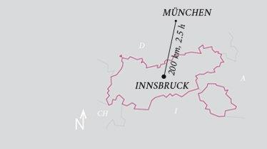 Entfernung Flughafen Innsbruck - Flughafen München, © Tirol Werbung