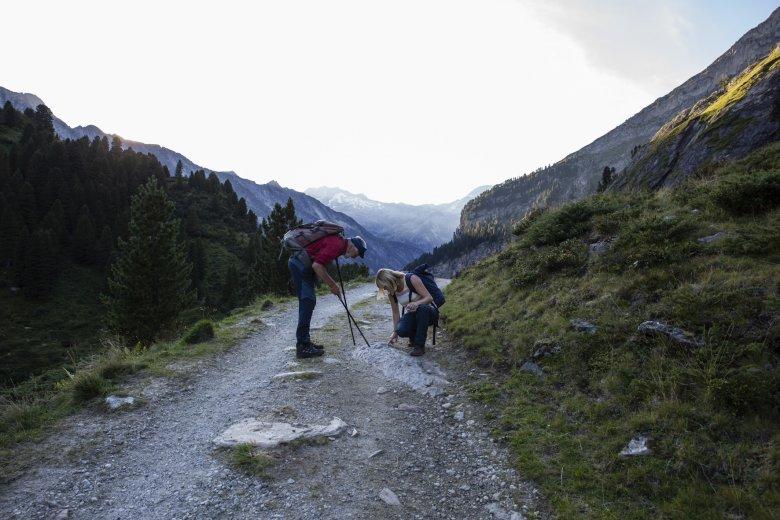 Auch gegen Ende der Wanderung fehlt es Ungerank nicht an Kraft, um immer noch nach besonderen Steinen ausschau zu halten.