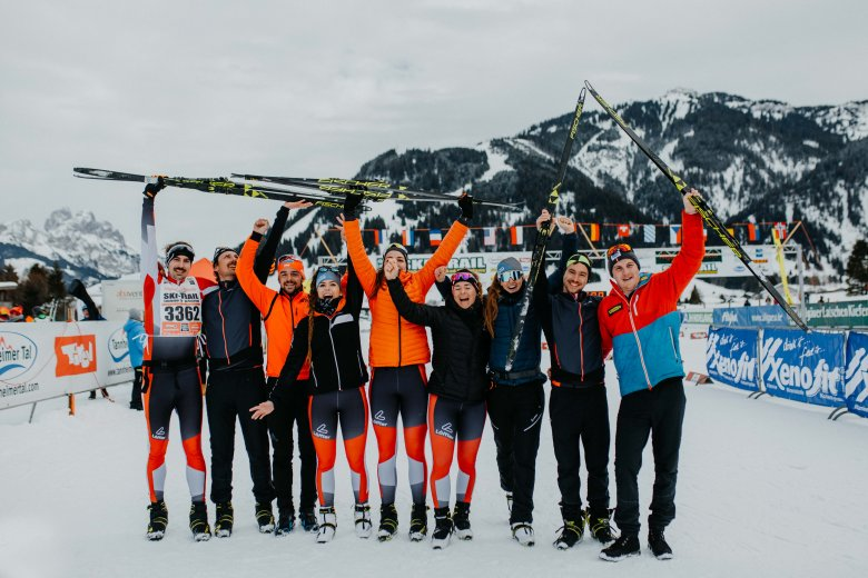 Helden des Tages: Wir alle haben es beim Ski Trail ins Ziel geschafft und sind happy mit dieser geglückten Generalprobe für den Koasalauf.