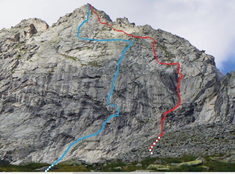"""Die Wand mit den jüngsten Erstbegehungen am Hohenaukar. In Blau die Route """"Entgrenzung für Fortgeschrittene"""", in Rot """"Ewigkeit für Anfänger""""."""