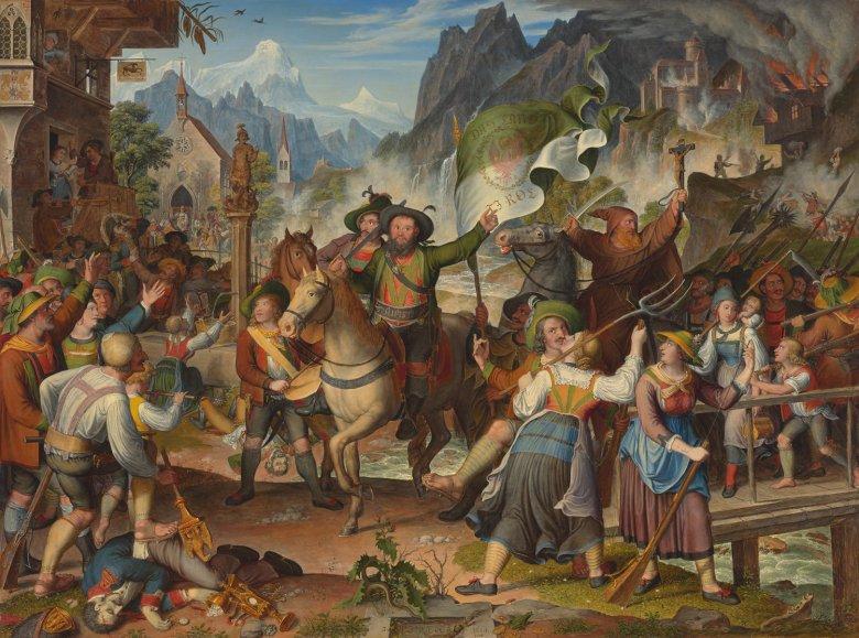 In diesem Bild widmet sich der Landschaftsmaler Anton Koch dem Tiroler Nationalhelden Andreas Hofer. Interessant ist die unrealistisch spitze Darstellung der Berge, die eher eine symbolische Landschaft bilden.