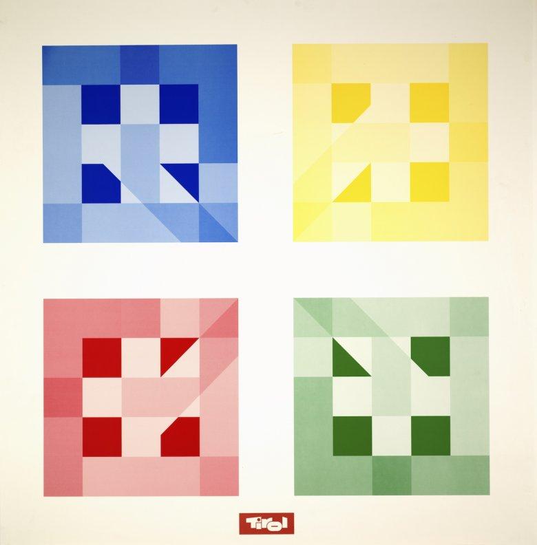 Peter Warum, [2P–CN] Kreislauf der Quadrate, 2001, Plakat, 85,4 x 86,8 cm, Tirol Werbung