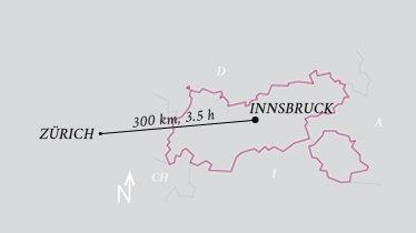 Entfernung Flughafen Innsbruck - Flughafen Zürich, © Tirol Werbung