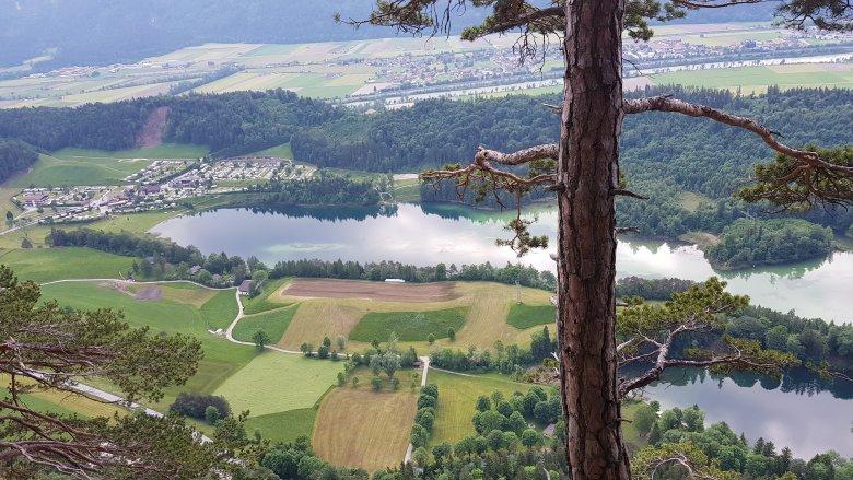 Die Aussicht vom Klettersteig auf den Reintaler See.