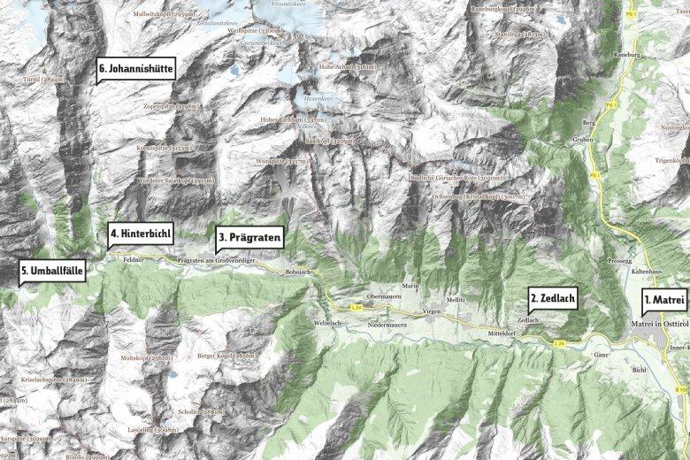Die Stationen meiner Reise ins Osttiroler Virgental.