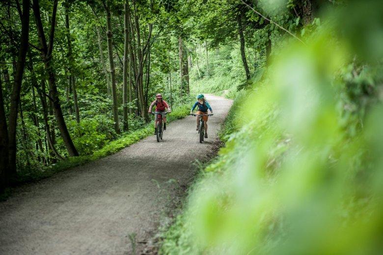 Über die beschilderte Mountainbike-Route pedalieren wir bis zur Hungerburg.