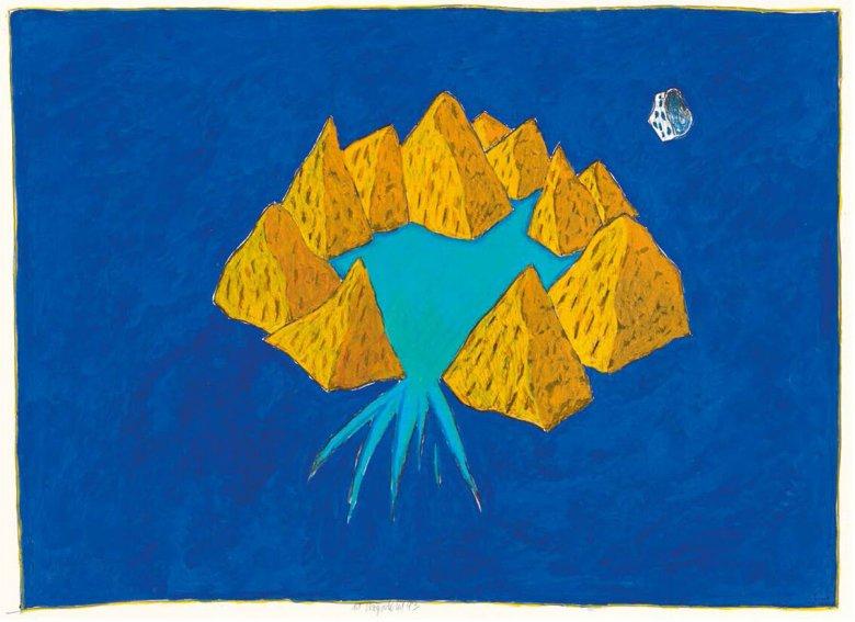 Chryseldis, O. T., 1993, Tempera und Ölkreide auf Papier, 45 x 62 cm, Bezirksmuseumsverein Landeck