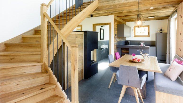 Wohnraum in den Chalets Grosslehen, © Toni Niederwieser