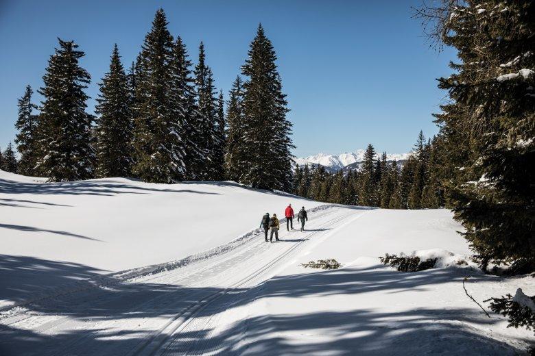 Bei jedem Schritt sinkt man ein paar Zentimeter in den festen Schnee ein, was beim Bergabgehen sehr angenehm ist.