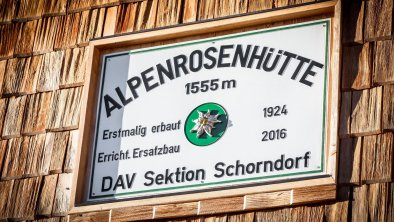Alpenrosenhütte Schild