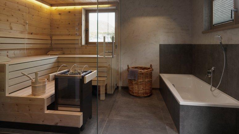 Bad mit Sauna in den Chalets Grosslehen, © Toni Niederwieser