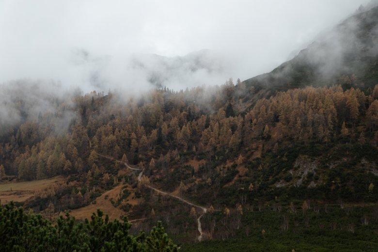 Die Berge kämpfen sich durch den Nebel.