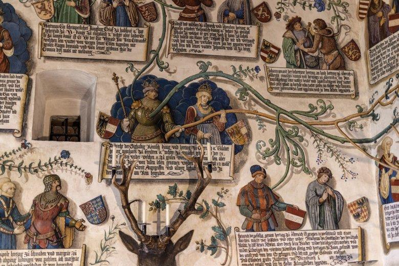 Familienbande und die Welt der Habsburger. Über die Wände rankt sich der Stammbaum des Herrschergeschlechts.