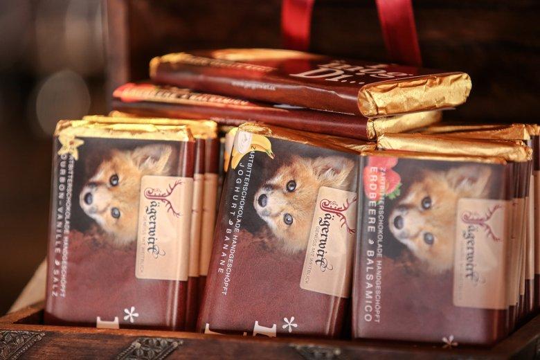 … die ausgezeichneten Schokoladen die beim Jägerwirt entwickelt werden (mein Favorit: Vanille/Salz) …
