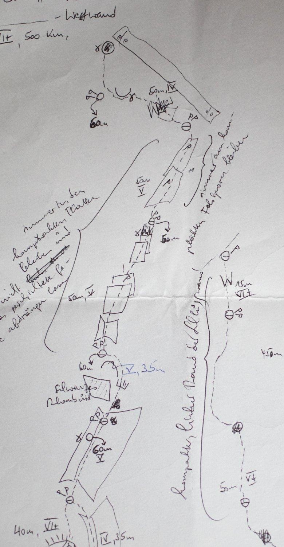 Schnelle Topo-Skizze nach einer Erstbegehung.