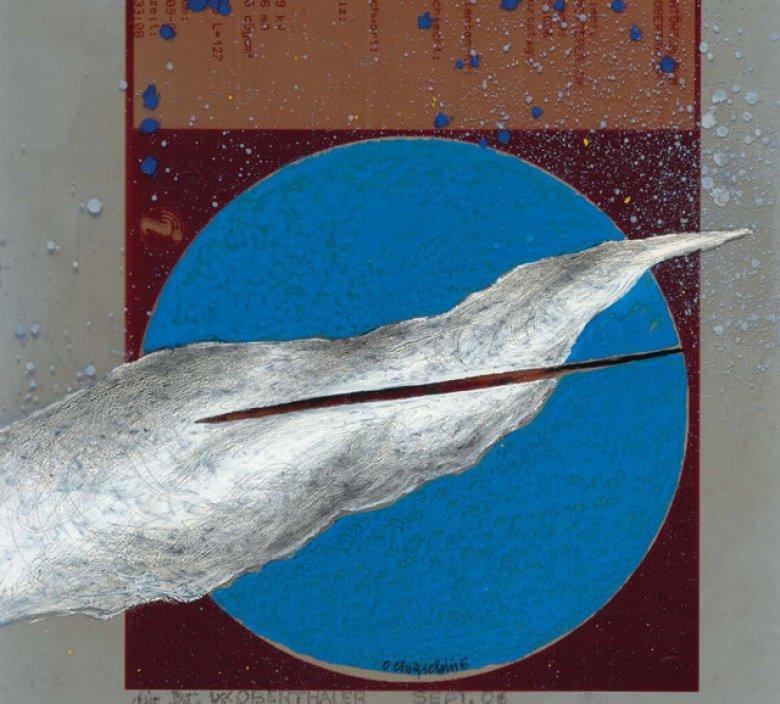 Chryseldis, Hl. Afra, 1997, Tempera und Ölkreide auf Papier, und  zwei Arbeiten von 2006 (Tempera auf Röntgenbildfolie), alle aus Privatbesitz